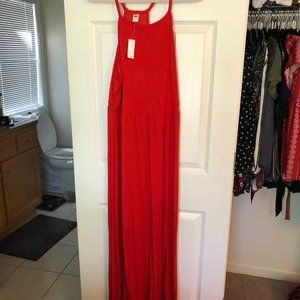 Orange Maxi Dress with Banded Waist